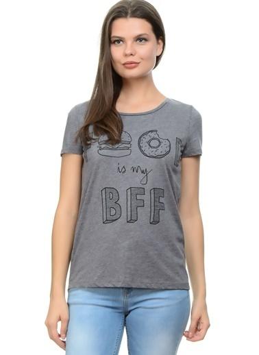 Only Only Yazılı Gri T-Shirt Gri